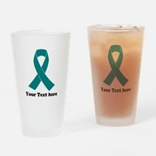 Teal Ribbon Awareness Drinking Glass