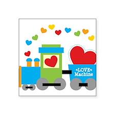 """Valentine Train Square Sticker 3"""" x 3"""""""