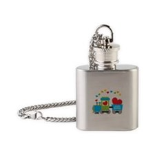 Valentine Train Flask Necklace