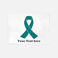 Teal Ribbon Awareness 5'x7'Area Rug