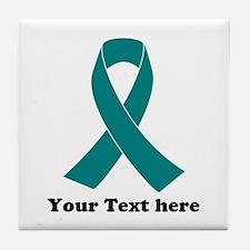 Teal Ribbon Awareness Tile Coaster