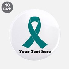 "Teal Ribbon Awareness 3.5"" Button (10 pack)"