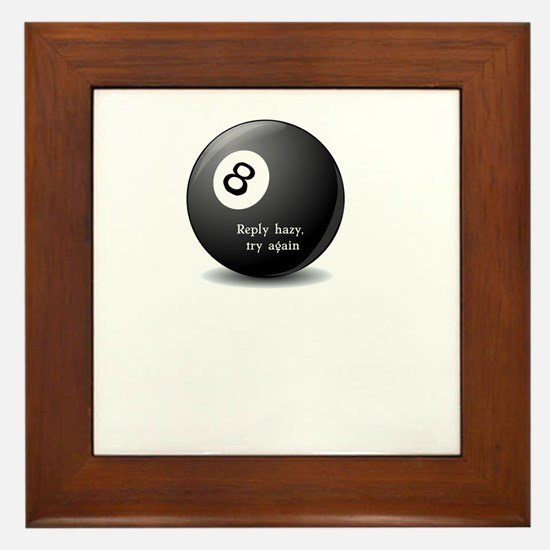 Magic 8-Ball reply hazy try again funny tee Framed