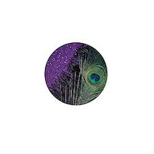 Purple and Black Peacock Mini Button
