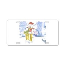 Snowman Wrap With Me. Aluminum License Plate
