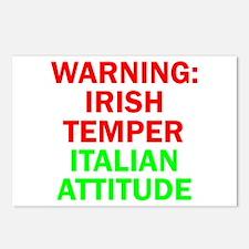 WARNINGIRISHTEMPER ITALIAN ATTITUDE.psd Postcards