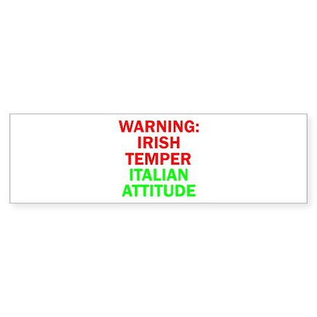 WARNINGIRISHTEMPER ITALIAN ATTITUDE.psd Sticker (B