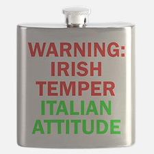 WARNINGIRISHTEMPER ITALIAN ATTITUDE.psd Flask