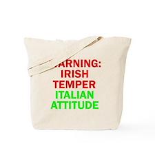 WARNINGIRISHTEMPER ITALIAN ATTITUDE.psd Tote Bag