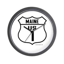 US Route 1 - Maine - Wall Clock
