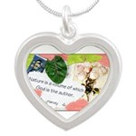 Nature Quote Collage Silver Heart Necklace