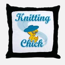 Knitting Chick #3 Throw Pillow