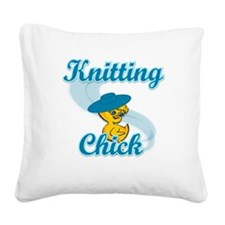 Knitting Chick #3 Square Canvas Pillow
