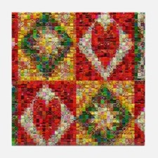 Heart Patchwork Love Quilt Tile Coaster