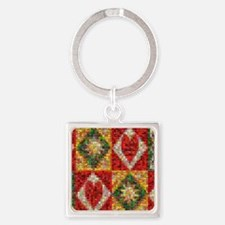 Heart Patchwork Love Quilt Square Keychain