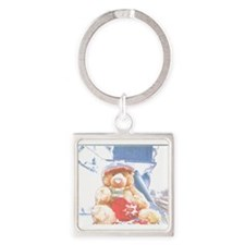 Bear Wrap With Me Two. Square Keychain