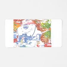 Leaf Snowman Bear. Aluminum License Plate