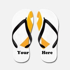 Gold Ribbon Awareness Flip Flops
