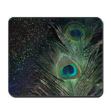 black rainbow peacock Mousepad