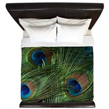 Green Peacock Feathers King Duvet