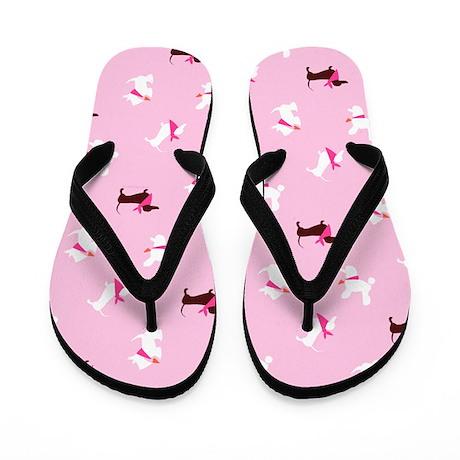 Dachshunds Scotties Poodles Pink Flip Flops