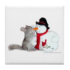 Chinchilla Christmas Tile Coaster