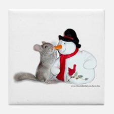 Chinchilla Christmas Tile Coaster