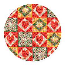 Heart Patchwork Love Quilt Round Car Magnet