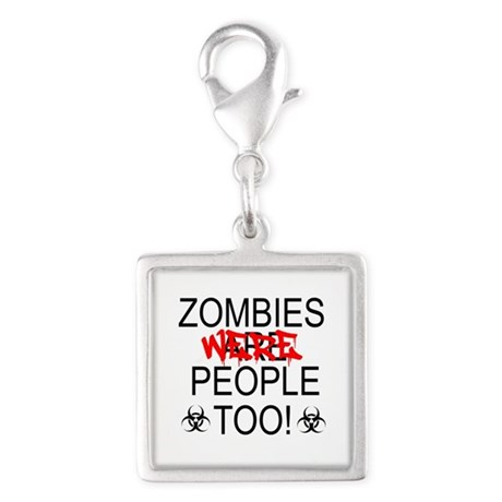 Zombies Were People Too! Silver Square Charm