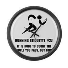 Running Etiquette Large Wall Clock