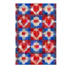 Red Heart Patchwork Quilt Postcards (Package of 8)