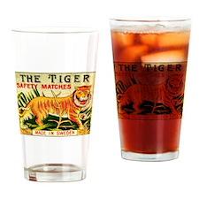 Swedish Tiger Antique Matchbox Label Drinking Glas