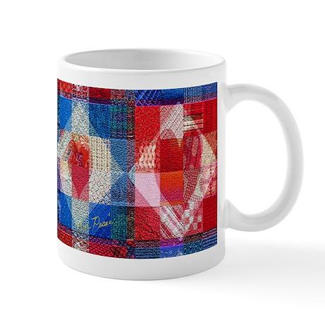 Red Heart Patchwork Quilt Mug