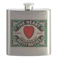 Antique Swedish Heart Matchbox Label Flask
