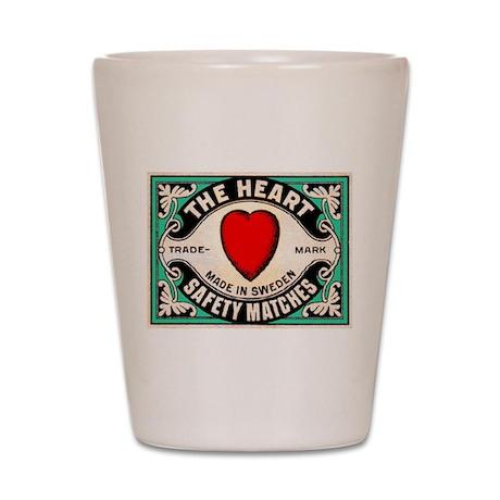 Antique Swedish Heart Matchbox Label Shot Glass