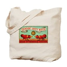 Antique Swedish Cockfight Matchbox Label Tote Bag