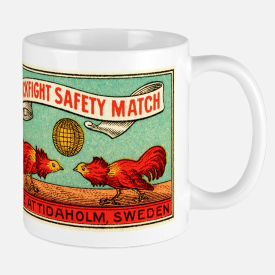 Antique Swedish Cockfight Matchbox Label Mug