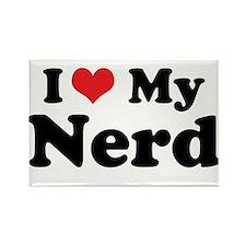 I Heart My Nerd Rectangle Magnet