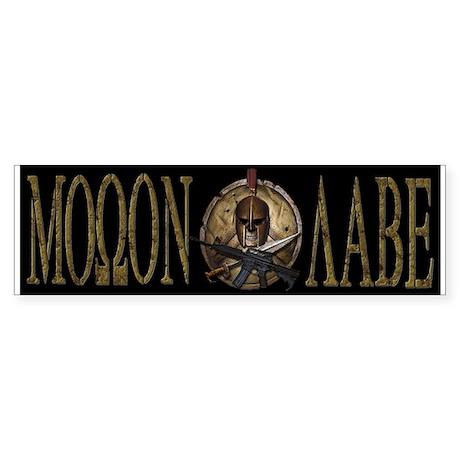 Molon Labe Spartan w Carbine Bumper Sticker