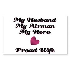 My Husband My Airman Rectangle Decal