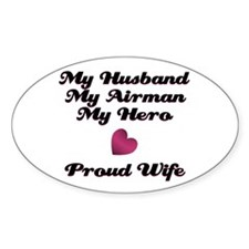 My Husband My Airman Oval Decal