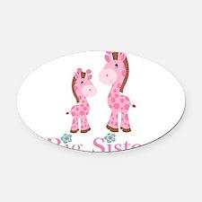 Big Sister Pink Giraffe Oval Car Magnet
