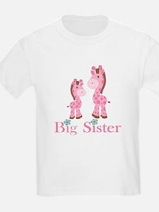 Big Sister Pink Giraffe T-Shirt