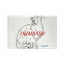 """Cat Says """"DumbAss!"""" Rectangle Magnet"""