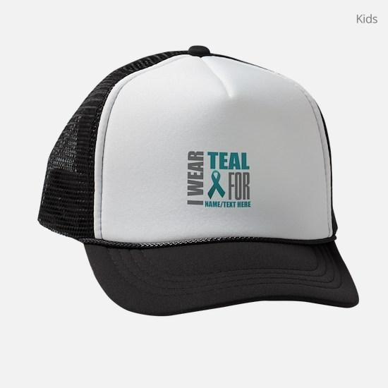 Teal Ribbon Awareness Customized Kids Trucker hat