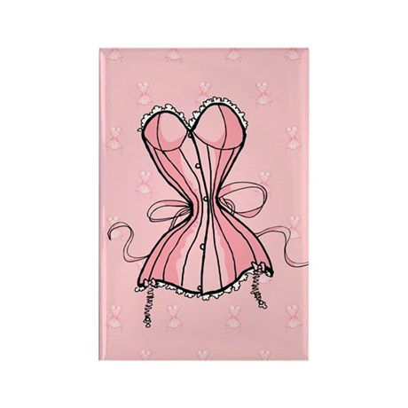 Retro Flirty Pink Corset Rectangle Magnet