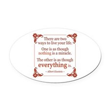 Einstein on Miracles Oval Car Magnet