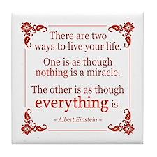 Einstein on Miracles Tile Coaster