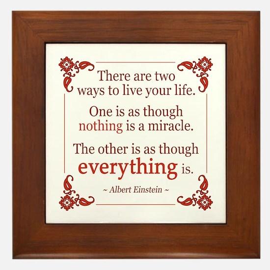 Einstein on Miracles Framed Tile