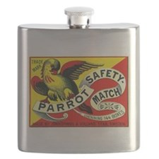 Parrot Swedish Antique Matchbox Label Flask
